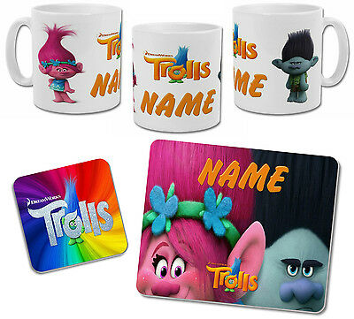 Personalised Trolls Mug with Coaster & Placemat Options