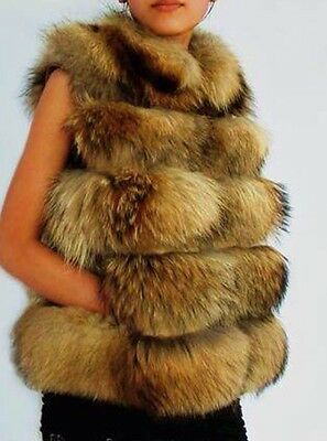 GENUINE REAL Nyctereutes procyon fin raccoon fur gilet Waist Coat
