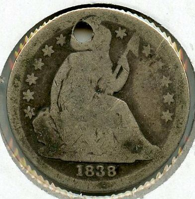 1838 Seated Liberty Dime - Hole - Large Stars - AK119