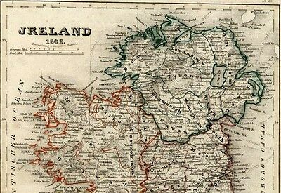 Ireland Leinster Ulster Munster Dublin Belfast 1849 Meyer antique map Law #397
