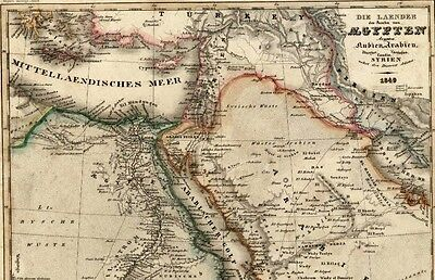 Arabian peninsula Saudi Egypt Mts. Moon Persia 1849 Meyer detailed antique map