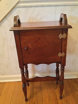 Vintage Mahogany Smoker or Sewing Stand Door and Brass Hinges with Wood Handles