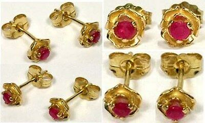 19thC Antique Ruby 14kt Rose Studs Ancient Persia Rome Magic Anti-Evil Talisman