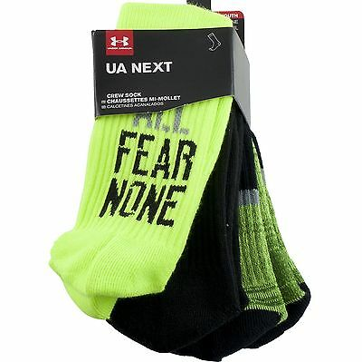 3 Pair Under Armour Next Youth Boys Crew Socks Large 1-4 Respect All Fear None