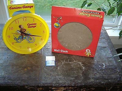 Curious George NIB Adventures Wall Clock Battery Operated Paperboy George