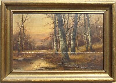 "Antique Framed Oil Painting on Wood ""Autumn in the Forest"" Signed by L. Ottinger"