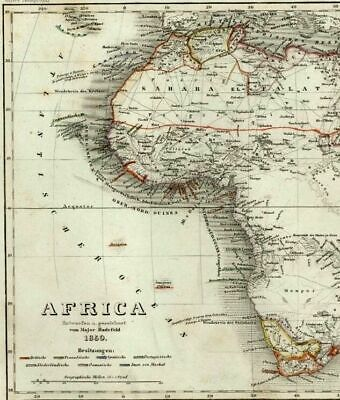 Africa Mts. of Moon shown w/ mountain height diagram 1849 Meyer antique map