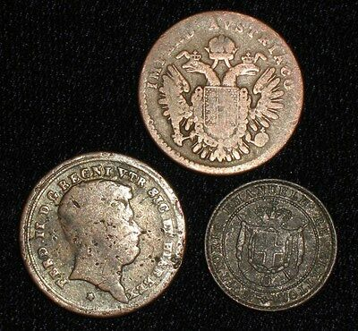 3 Coins from the Italian States.  1838-1859.  No Reserve!!