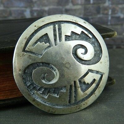 """""""Carved"""" Sterling Silver Tribal Pattern Round Disk Pin / Brooch"""