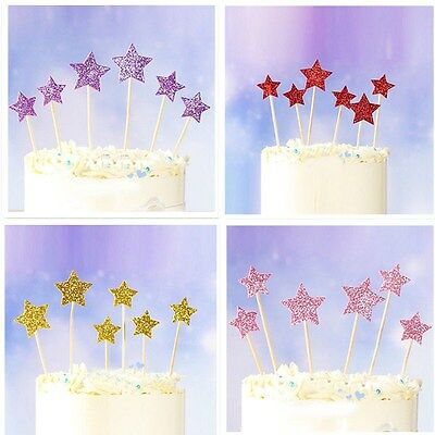 12X Star Heart Shape Cake Toppers For Party Birthday Cupcake Decoration Wedding