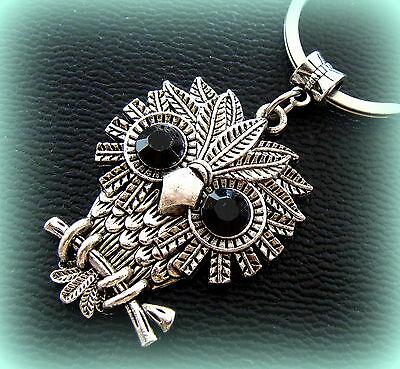 OWL BIRD Keychain Jewelry ANTIQUE Art Deco Indian style Steampunk Retro look