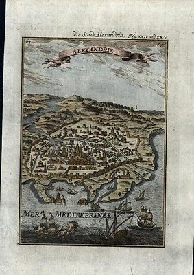 Alexandria Egypt Nile Delta birds-eye view 1719 Mallet antique print