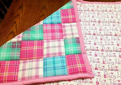HANDMADE, PINK/ TURQUOISE  PATCHES, 34X42.5in GIRLS, BABY/TODDLER FLANNEL QUILT