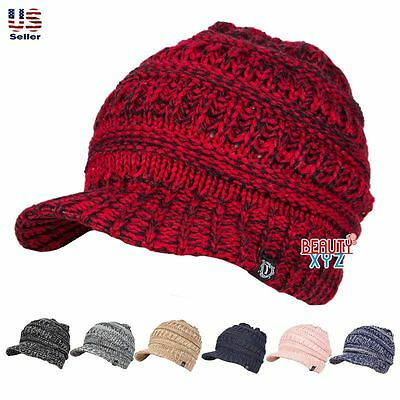 Unisex Winter Visor Beanie Knit Hat Cap Crochet Men Women Ski Warm NEW