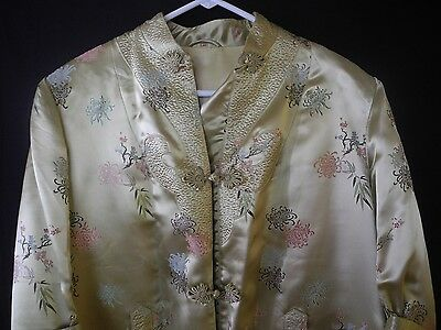 Vintage Chinese Asian Silk Embroidered Robe Coat Jacket Floral Size 42