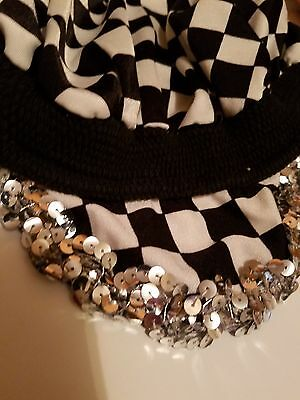 Black and White Checked Dance Costume Hat