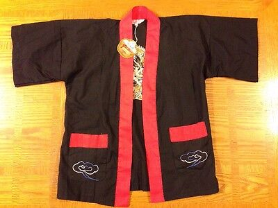 Plum Blossoms Cotton Blend Size 2 Black Robe W/ Dragon Embroidery - NWT