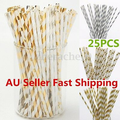 25Pcs Gold Silver Foil Drinking Paper Straws Wedding Birthday Party Decor AU