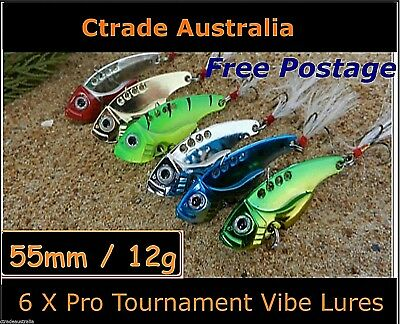 Vibe Fishing Lures Switch blade Lure 6 Pack 55mm 12g Pro Vibes Bream Flathead !!