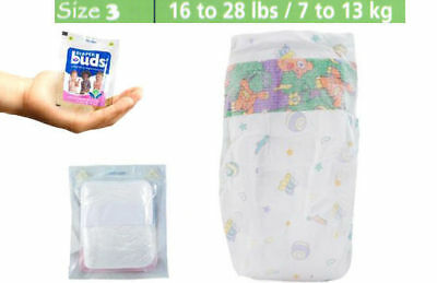 Diaper Buds Disposable Baby Nappy Size 3 Large Box 28 Pack Nappies/Travel pack