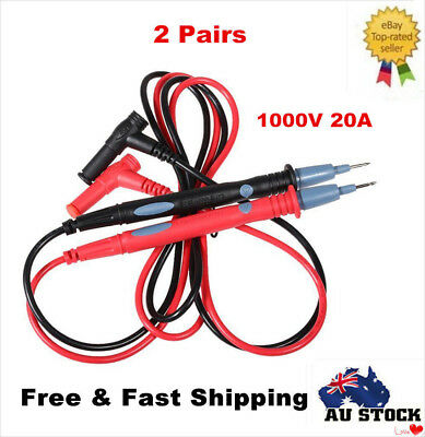 2 Pairs Universal Digital Multimeter Tester Lead Probe Wire Pen Cable Test Leads