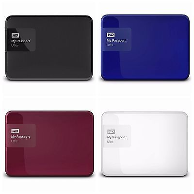 WD My Passport Ultra 1TB 2TB USB3.0 Portable Drive Black Blue White Berry Color.