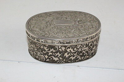 Antique Vintage Japanese SilverTone Metal Trinket Jewelry Box Red Material Lined