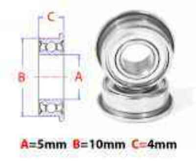 AT Flanged Bearings 5X10X4mm Metal Shield (mf105zz)