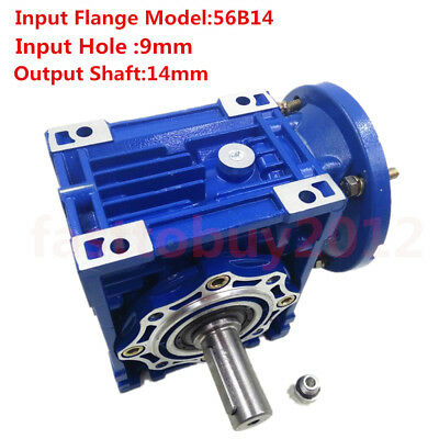 Worm Gearbox 56B14 Flange Reducer 10:1 15:1 30:1 Stepper Asynchronous Motor