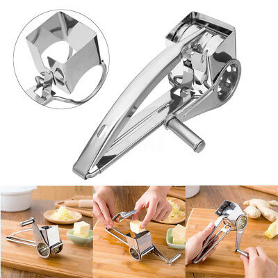Stainless Steel Rotary Cheese Grater 3 Drums Blades Slicer Chocolate Carrot New