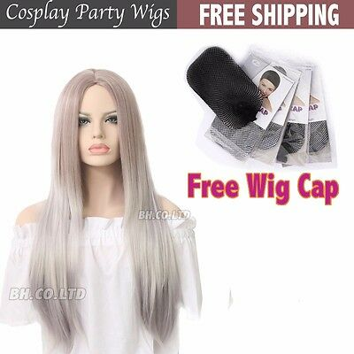 Womens Fashion Lolita Ombre Silver Long Straight Hair Full Wig Party Cosplay New