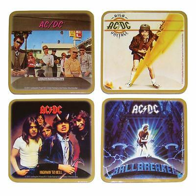 AC/DC Set of 4 Cork Back Coasters Licensed Bar Man Cave Collectors Novelty NEW
