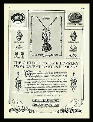 1917 Vintage Antique OSTBY & BARTON COSTUME Fashion JEWELRY Print Ad Wall Art