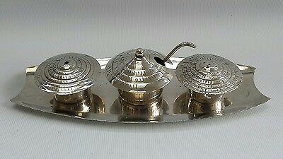 Vtg Art Deco Silver Plate 3 Pcs Condiment Cruet Set Salt Pepper Cellars & Tray