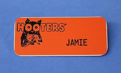 HOOTERS RESTAURANT GIRL JAMIE ORANGE NAME TAG -  Waitress Pin