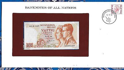 Banknotes of All Nations Belgium 1966 50 Francs P139a.3 UNC 945H