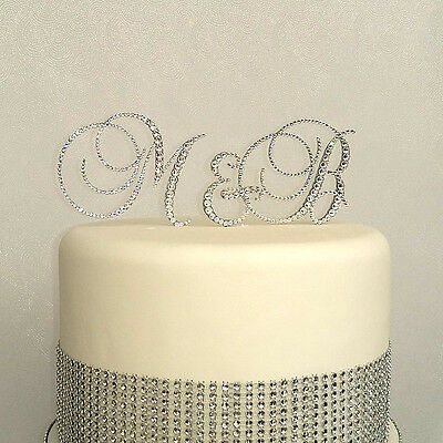 Personalised Monogram Crystal Initials Wedding Cake Toppers Set Of 3 Initials