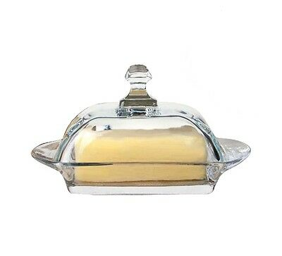 Good Quality Glass Transparent Butter Dish With Lid and Handle Karon 10cm