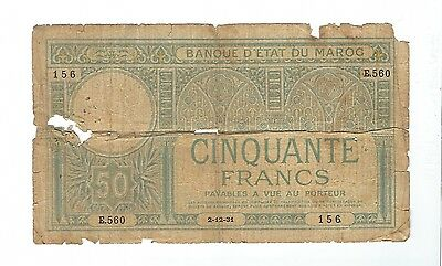 Morocco - 1931, Fifty (50) Francs