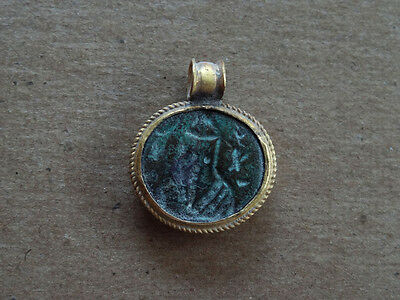 Ancient Gold & Bronze Pendant Christ / Saint Image Byzantine 400-600 Ad