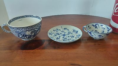 Lot Of Chinese Porcelain Cups Teacup Saucer Blue And White