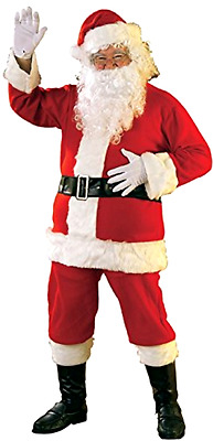 GIFT Santa Claus Father Christmas Mens Fancy Dress Adult Costume Suit + Hat
