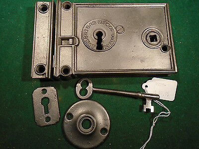 VINTAGE RUSSELL & ERWIN RIM LOCK w/KEY & KEEPER: CLEANED RECONDITIONED   (7231)