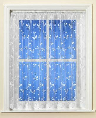 White Net Curtain PETAL BUTTERFLY Design - NEW - SELECTED SIZES - CLEARANCE