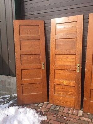 Ar 44 20 Available Antique Flat Five Panel Oak Passage Door 30 X 83