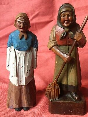 Antique Pair German Hand carved Old Women