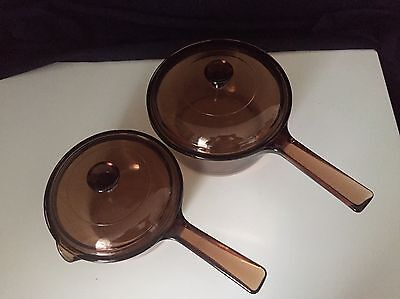 Corning Visions Amber 1 Litre & 1.5 Litre Sauce Pans Set Of 2 Made In U.S.A.