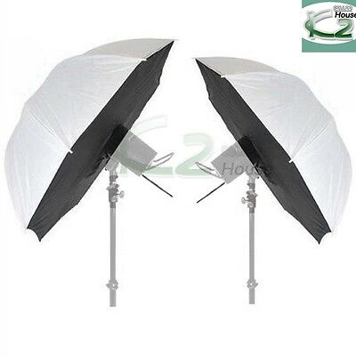 "2PCs 33"" Photography White Black Brolly Box Umbrella Flash Light Shoot Reflector"
