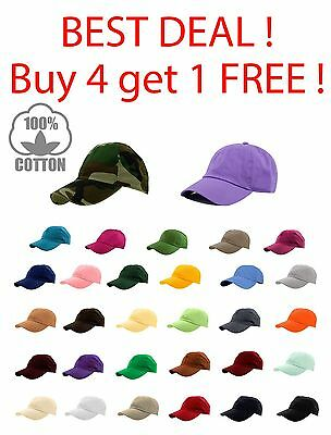 Unisex Polo style Washed Plain Solid Adjustable Cotton Baseball Cap Hats