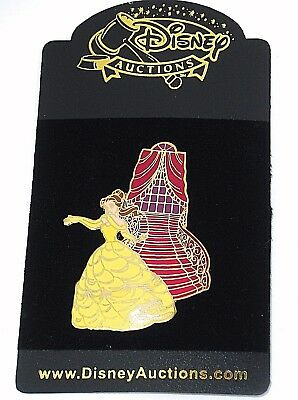 RARE LE Disney Auction Pin✿Beauty Beast Belle Staircase Library Yellow Gown NEW